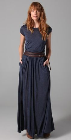 Maxi Tee Dress- This crew-neck jersey maxi dress features ribbed banding and ruching at the covered elastic waistband. Ribbed panel and vertical seam at back. On-seam hip pockets. Cap sleeves. Fabric: Slubbed jersey. 95% modal/5% spandex.