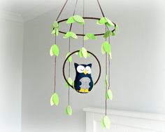 Owl mobile - woodland - Nursery baby mobile - You pick your colors - Felt navy and gray owl - Nursery decor