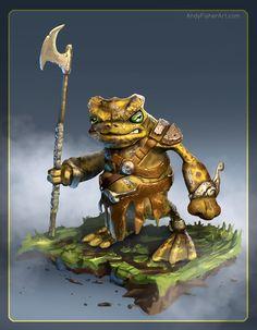 Grog the Frog Warrior, Andy Fisher on ArtStation at https://www.artstation.com/artwork/d0RZw