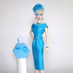 OOAK Vintage Barbie/Silkstone Fashion by Roxy-CLASSIC SHANTUNG SHEATH-TURQUOISE | eBay