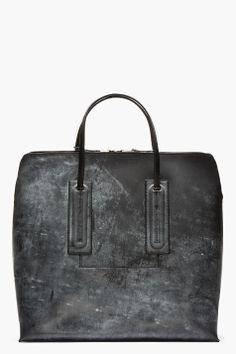 RICK OWENS Charcoal Mottled & etched SQUARE tote BAG #black #blackleather #blackbag #blackleatherbag #blackhandbag #leatherbag #leatherhandbag #designerbag #bagart #chic #minimalist #simplebag #fashion2014 #wishlist