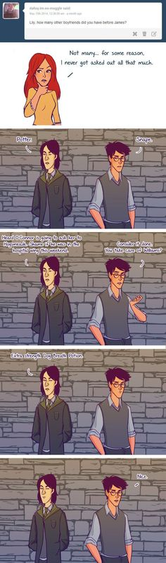"But there's also this important revelation that James and Severus might have been unlikely allies. | These Adorable ""Harry Potter"" Comics Imagine James And Lily As A Young Couple"