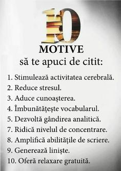 10 motive să te apuci de citit Poetry Quotes, Book Quotes, One Day Quotes, School Staff, Kids Education, Travel Quotes, Kids And Parenting, Personal Development, Cool Words
