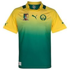 Cameroon Away Football Shirt 2012-13 by PUMA. $69.11. The Cameroon Away Football Shirt is a brand new design from Puma for the 2012-13 international season and will be worn by players such as Eto'o, Alex Song and Assou-Ekotto in the 2012 African Nations Cup. It is yellow in colour fading into green with green trims. The shirt is made from 100% polyester using Puma's unique USP-Dry fabric technology and is a short sleeved design. Other features include embroidered Puma log...