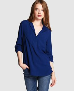 Azul Con Polo Blusa Azules Cuello Formal Uñas Azul R6zdqTnS