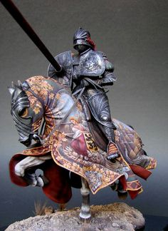 Knight in Jousting Armour, Western Europe, XVI century - Virtual Museum of Historical Miniatures Medieval Knight, Medieval Armor, Medieval Fantasy, Military Figures, Military Diorama, Armadura Medieval, Art Sculpture, Sculptures, Knight Armor