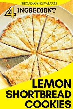 These flaky lemon-flavored shortbread cookies are so delicious! This is an easy recipe, with only a few ingredients, and 5 minutes of prep to make. They would make perfect Mother's Day cookies! #meyerlemon #shortbread #shortbreadcookies #lemonshortbread #lemoncookies #desserts #cookies #easyshortbread | mothers day desserts, mothers day dessert recipes, mothers day desserts easy