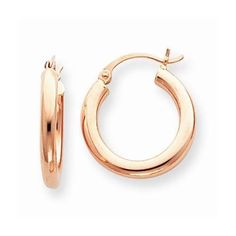 NEW 14K SOLID ROSE GOLD 3MM WIDE POLISHED ROUND HOOP EARRINGS PINK GOLD 1.28g #Hoop