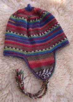 knit a peruvian beanie Baby Knitting Patterns, Owl Crochet Patterns, Crochet Motif, Crochet Baby, Wooly Hats, Knitted Hats, Flap Hat, Kids Hats, Beanie