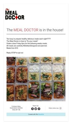 Fresh Meals Delivered --- The MEAL DOCTOR is in the house!