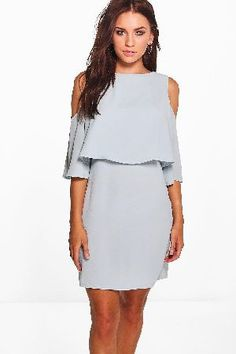 #boohoo Cold Shoulder Double Layer Dress - grey DZZ51413 #Diane Cold Shoulder Double Layer Dress - grey