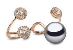 Yoko London 18kt rose gold two-finger ring with a 13-14mm Tahitian pearl and 1.19cts diamonds.