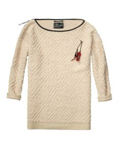 Oversize Fit Long Sweater In Textured Knit - Scotch & Soda