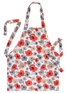 Apron Full Kitchen Apron Flower with Red by SilverFrostHandmade