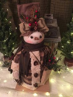 PRIMITIVE HANDMADE SNOWMAN|Handmade Snowman Doll|Vintage Snowman|Rustic Snowman|Snowman Doll|Country Snowman|Winter|Primitive Christmas Rustic Snowman Snowman was created to have that old-timey vintage look that we all love! He stands on a wood base that I left unfinished for a #Primitives