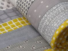 quilt cot crib baby nursery handmade grey yellow by poppinspatch