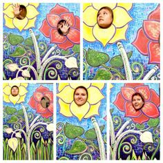Photo booth with flowers.