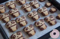 Panda Cookies Are Almost Too Cute To Eat - Sweet Eats - Macarons Macarons, Bear Cookies, Cute Cookies, Just Desserts, Delicious Desserts, Yummy Food, Yummy Treats, Sweet Treats, Cookie Recipes