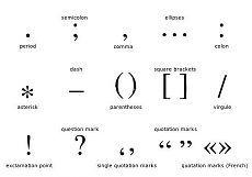 . - dot (точка)/ -  slash (дробь)- -  dash (тире), -  comma (запятая): -  colon (двоеточие); -  semicolon (точка с запятой)-  space (пробел)underscore - нижнее подчеркивание / Неформальный Английский