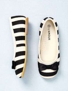 L'Amour and Angel Girls Striped Ballet Flat
