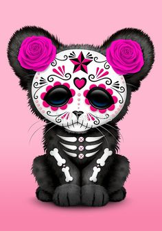 Pink Day of the Dead Sugar Skull Panther Cub | Jeff Bartels