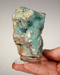 Chrysocolla and druzy quartz.