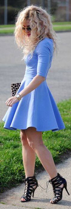 Lulu's Light blue half sleeve skater dress by Blonde Bedhead (by previous pinner). Love the shoes (LC)