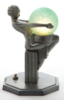 A FRANKART PATINATED METAL AND GLASS FIGURAL LAMP  Frankart, Inc., New York, New York, circa 1930  Marks: FRANKART, INC.  8-1/2 inches high (21.6 cm)    The gunmetal gray lamp with female nude upon fluted pedestal  supporting original green crackled glass globe.    Appears as No. L261 in The Frankart Handbook for Season  1930-1931.    From a Private Dallas Collection            Frankart, Inc.:.