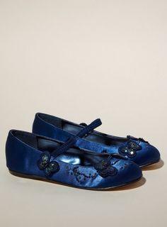 Blue flower girl shoes