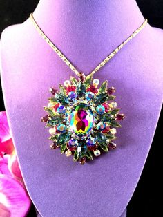 STUNNING 1964 JULIANA D&E HELIOTROPE WATERMELON RHINESTONE BROOCH PENDANT BOOK #JULIANADE