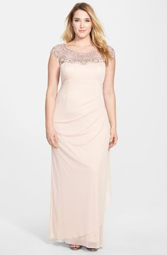 Xscape Beaded Yoke Mesh Gown (Plus Size) | Nordstrom