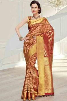 Red silk zari weaved saree in golden border & red zari weaved pallu