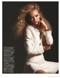 Kim van der Laan Wears Curly Hair & Sparkling Gems for Marie Claire Netherlands December 2014