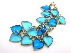 Puffy Heart Charm Bracelet - Blue Glass Sterling Silver on Etsy, $85.00