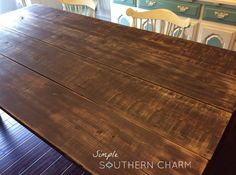 2×4 farm house table #milkpaintasstain #minwaxwipeonpoly #diyfarmhousetable | Simple Southern Charm