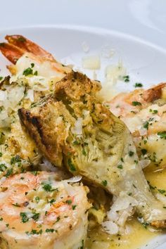 Shrimp Francesca - Entrée ingredients: artichoke hearts, butter, garlic, Italian bread crumbs, lemon, parsley, romano cheese, and shrimp