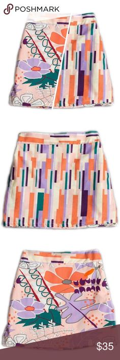 Llum Orange and Purple Reversible A-Line Skirt Llum Orange and Purple Reversible A-Line Skirt, pure cotton fabric provides plenty of comfort, while the reversible design offers a splashy tropical print or fun Art Deco stripes. Sz 4 Bottoms Skirts