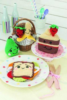Amigurumi picnic sandwich, cake, macaroons and fruit amigurumi crochet pattern by AmigurumiBarmy on Etsy