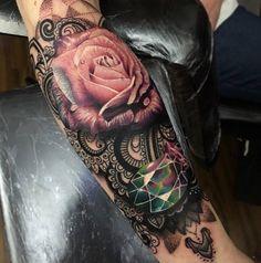 Tattoo 3D Rose mit Diamant