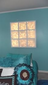 Build a faux window headboard that doubles as a night-light. 11 Ways To Use String Lights Anywhere But The Tree Decor, Faux Window, Home, Window Light, Glam Room, Basement Bedrooms, Headboard, Fake Window, Headboard With Lights