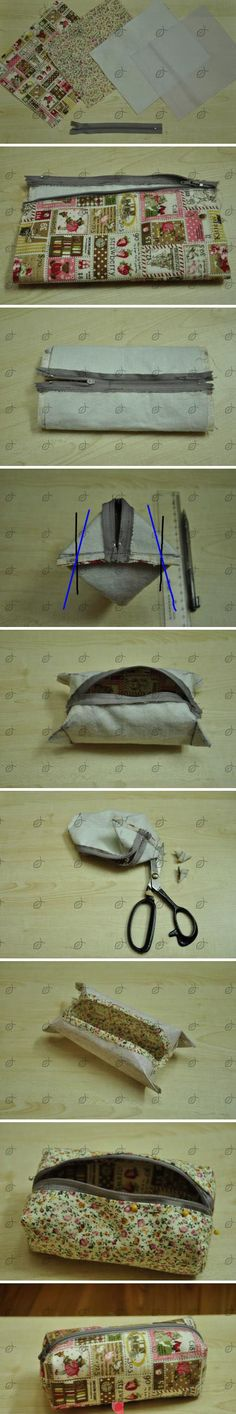 "G D S Ett sätt att sy en liten""väska"" i olika storlekar. D I Y One way to sew a small ""bag"" of different sizes."