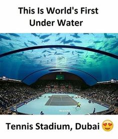 Underwater tennis stadium in Dubai because why tf not? Amazing Places On Earth, Beautiful Places To Travel, Places Around The World, Cool Places To Visit, Wonderful Places, Vacation Places, Dream Vacations, Interesting Facts About World, Amazing Facts
