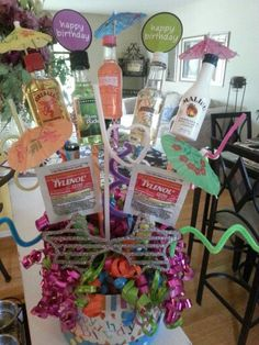 Booze bouquet Booze Bouquet, Alcohol Bouquet, 21st Birthday Gifts, 80th Birthday, Liquor Gift Baskets, Birthday Bouquet, Auction Baskets, Party Gifts, Fun Gifts