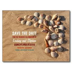 Colorful and fun seashells beach wedding save the date for fancy wedding on the beach