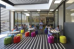 outdoor learning spaces - like the tables and stools, shady but open.
