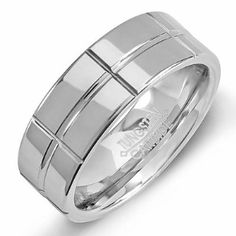 Share for $20 off your purchase of $100 or more! Tungsten Carbide Men's Ring Wedding Band 8MM Flat Grooved  & Polished Shiny  Comfort Fit (Available in Sizes 5 to 15) - Dazzling Rock #https://www.pinterest.com/dazzlingrock/