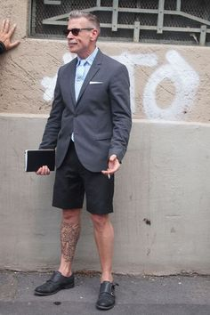 Suit, shorts and leg ink, Nick Wooster is the most stylish man on the planet. Not to mention the monk straps
