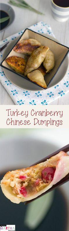 Turkey Cranberry Chinese Dumplings -- A fall twist on the traditional dumpling recipe! | wearenotmartha.com
