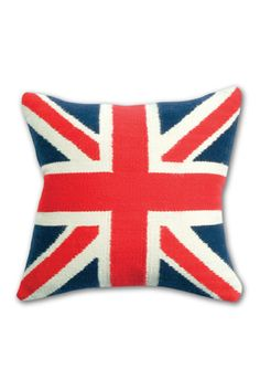 Needlepointed Union Jack Pillow. That's a lot of effort.