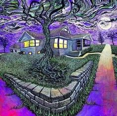 #house #tree #darkness #moonlight #psychedelic #trippy #trippyart #psychedelia #universe #mystic #mothernature #magic #psicodelia #visionary #meditation #psychedeliabook #free #spirit #yourself #imagine #love #pure #peacefull #space #breathedeeply via @psychedelic_post